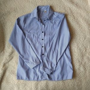 Tops - Womens Blue and White Striped Button Up